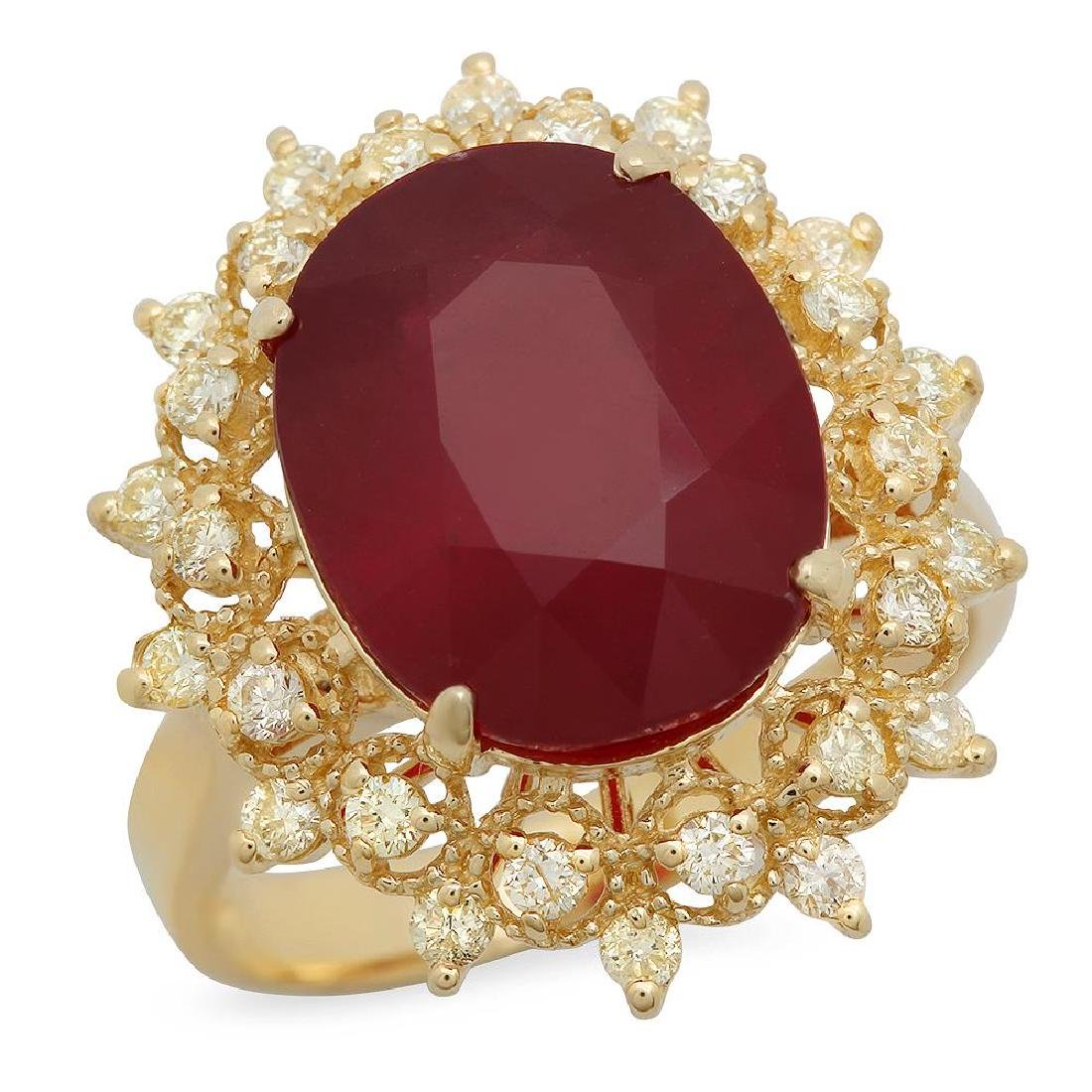14K Gold 8.61ct Ruby 0.55ct Diamond Ring
