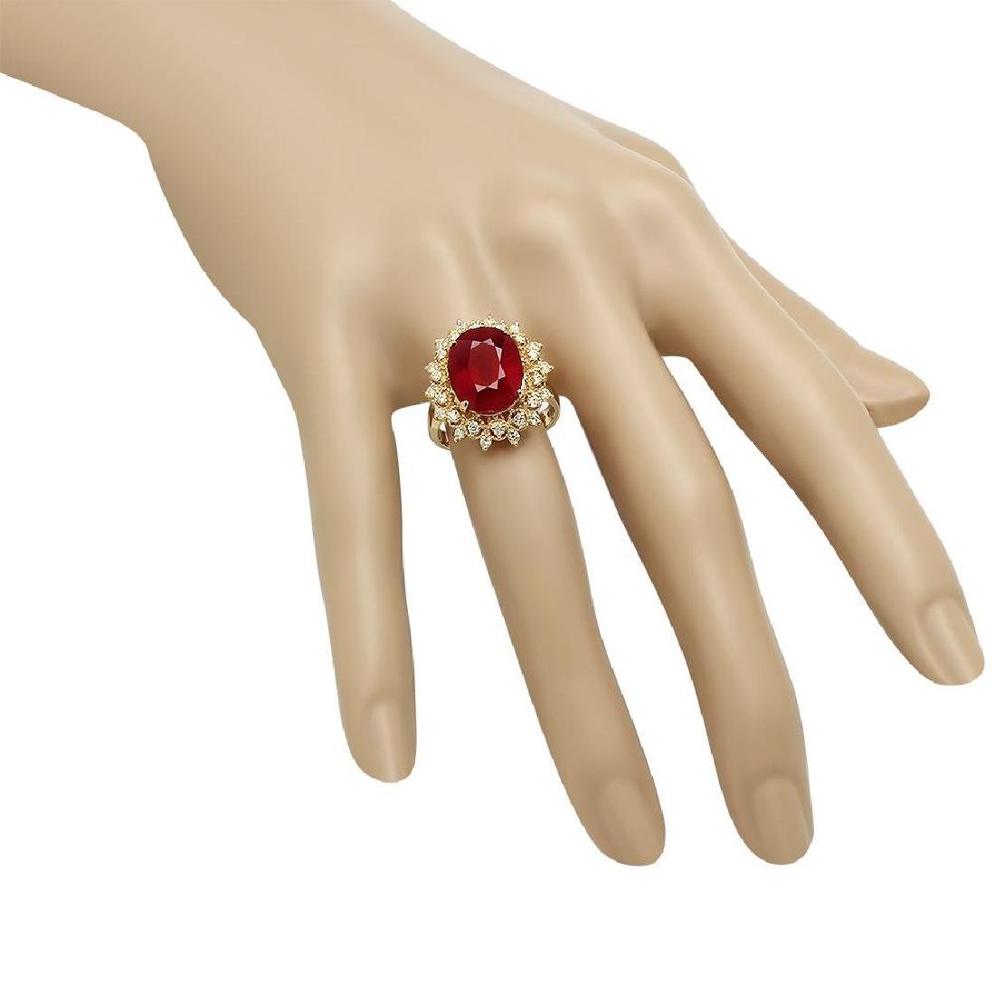 14K Gold 8.61ct Ruby 0.55ct Diamond Ring - 3