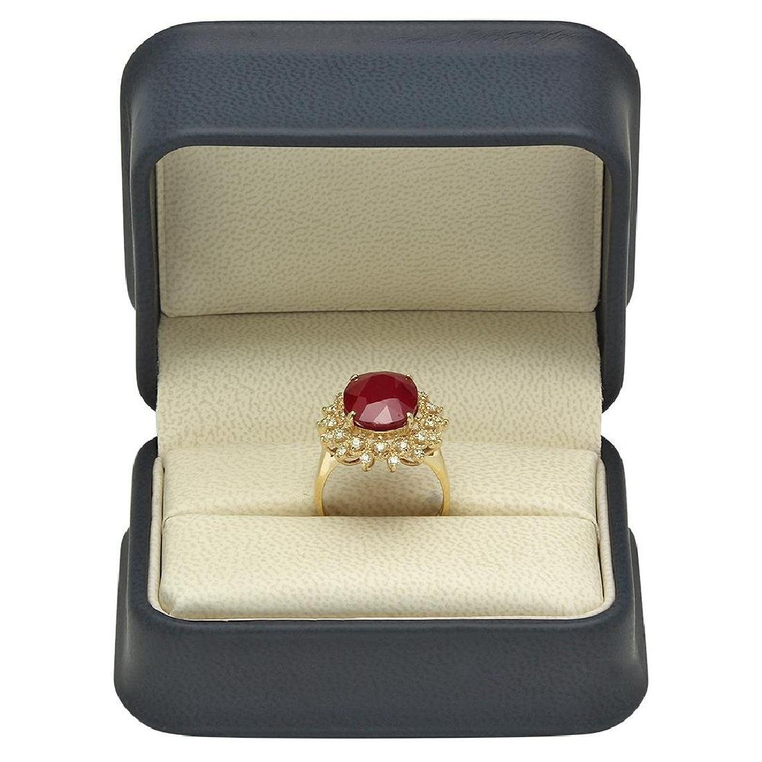 14K Gold 8.61ct Ruby 0.55ct Diamond Ring - 4