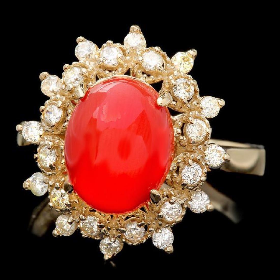 14k Yellow Gold 2.75ct Coral 0.50ct Diamond Ring
