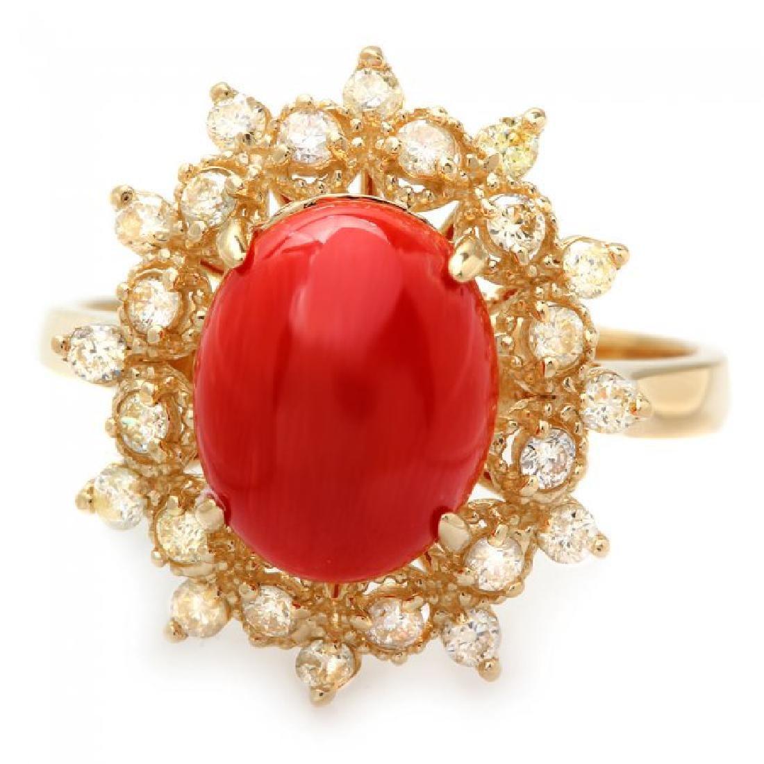 14k Yellow Gold 2.75ct Coral 0.50ct Diamond Ring - 2