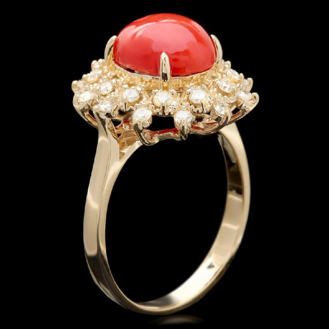 14k Yellow Gold 2.75ct Coral 0.50ct Diamond Ring - 3