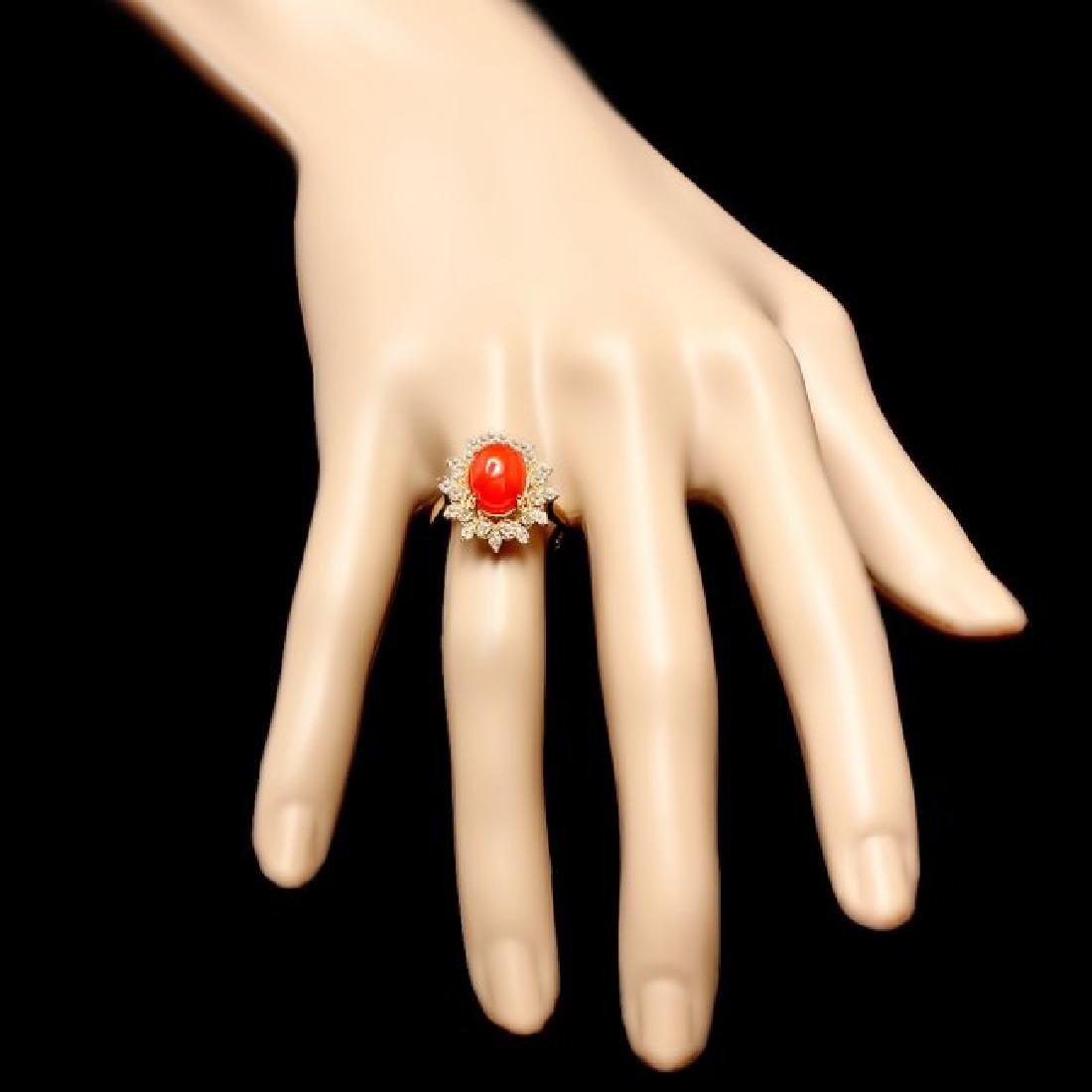 14k Yellow Gold 2.75ct Coral 0.50ct Diamond Ring - 4