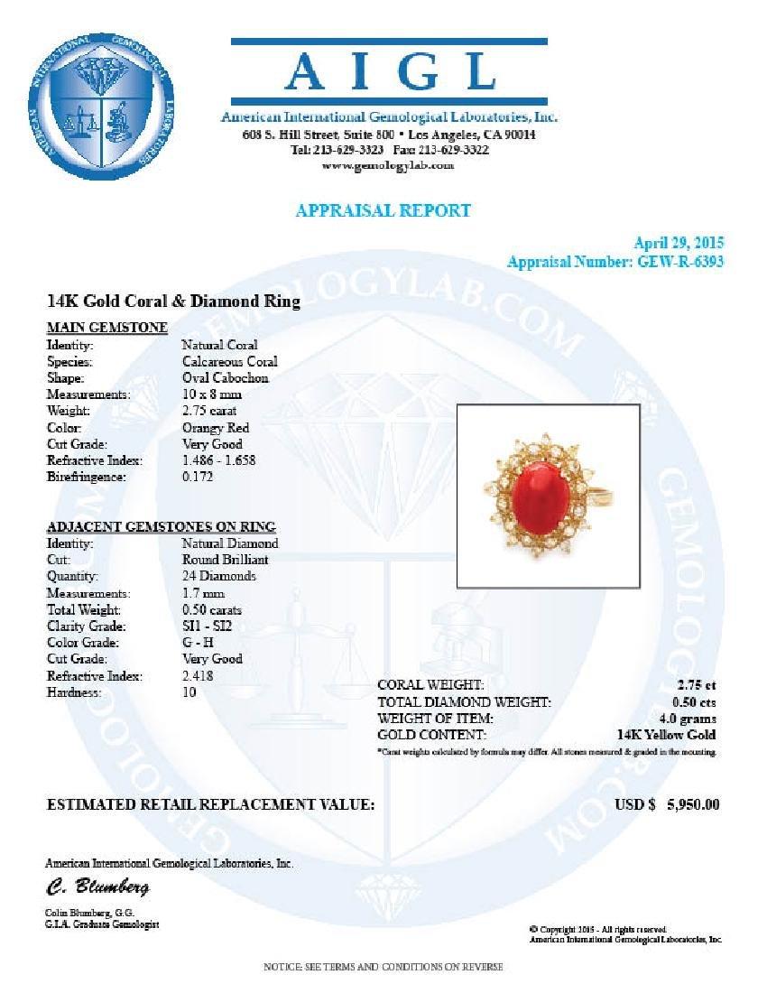 14k Yellow Gold 2.75ct Coral 0.50ct Diamond Ring - 5