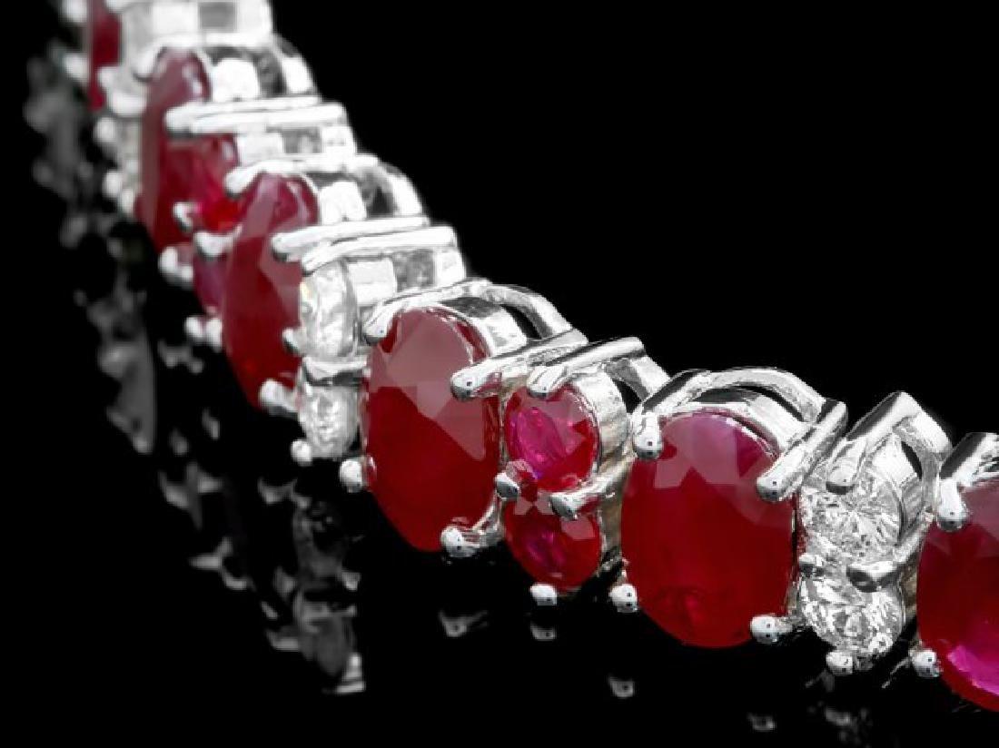 14k White Gold 28ct Ruby 2.40ct Diamond Bracelet - 2