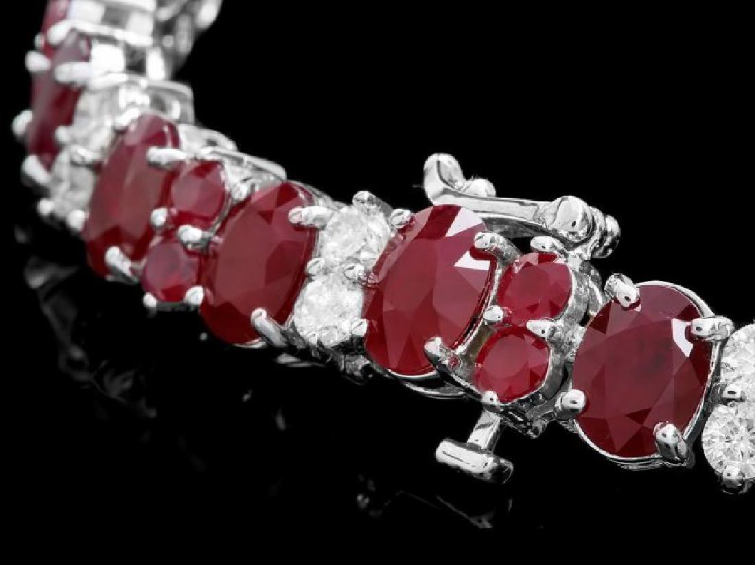 14k White Gold 28ct Ruby 2.40ct Diamond Bracelet - 3
