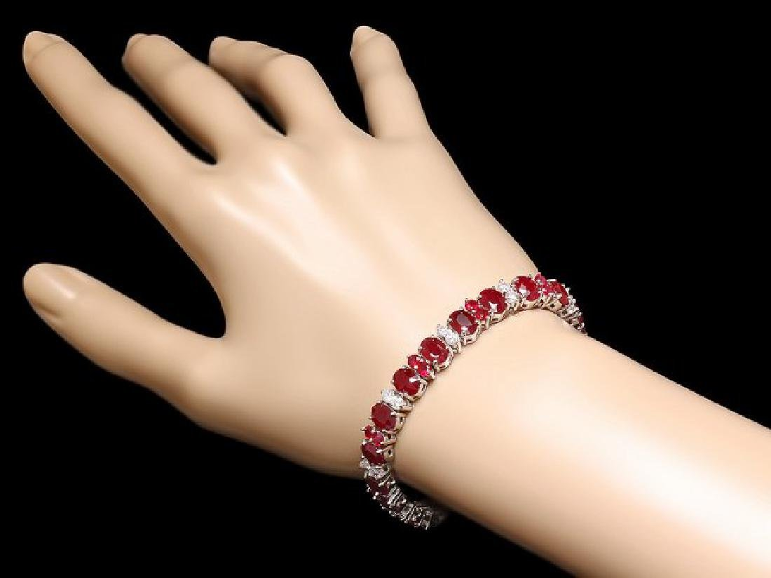 14k White Gold 28ct Ruby 2.40ct Diamond Bracelet - 4