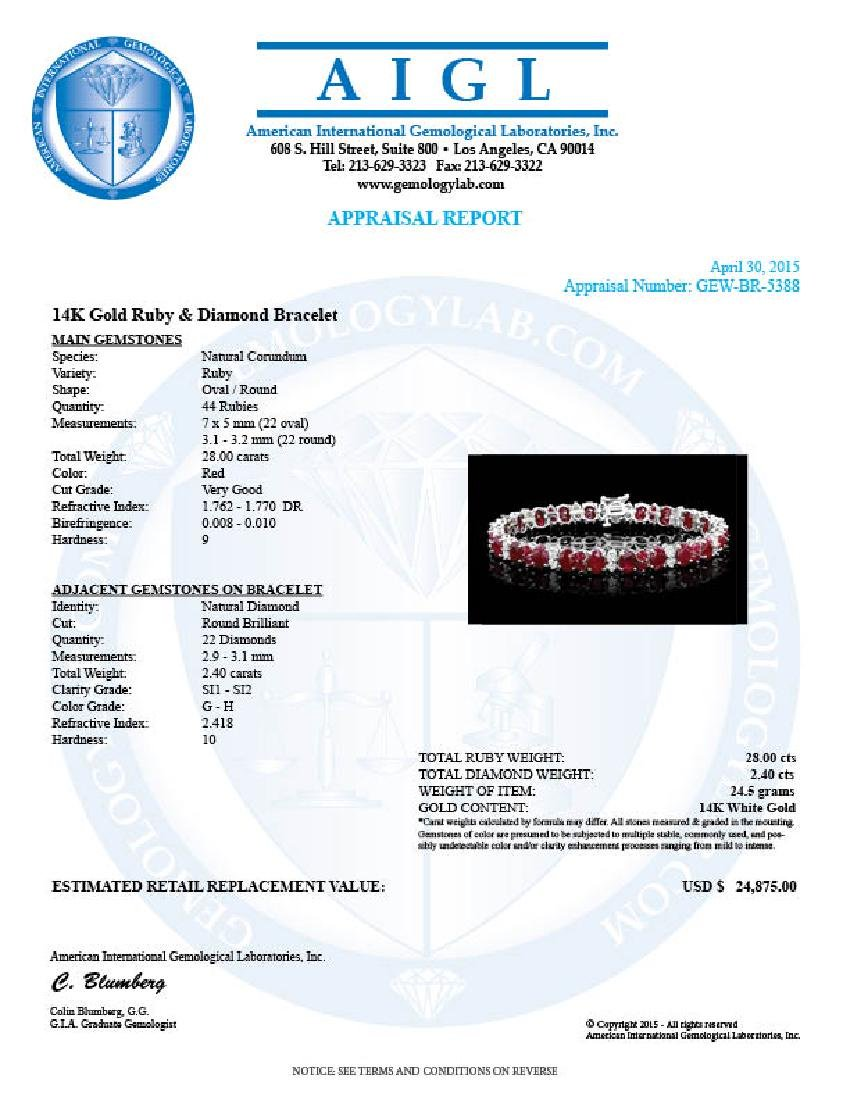 14k White Gold 28ct Ruby 2.40ct Diamond Bracelet - 6