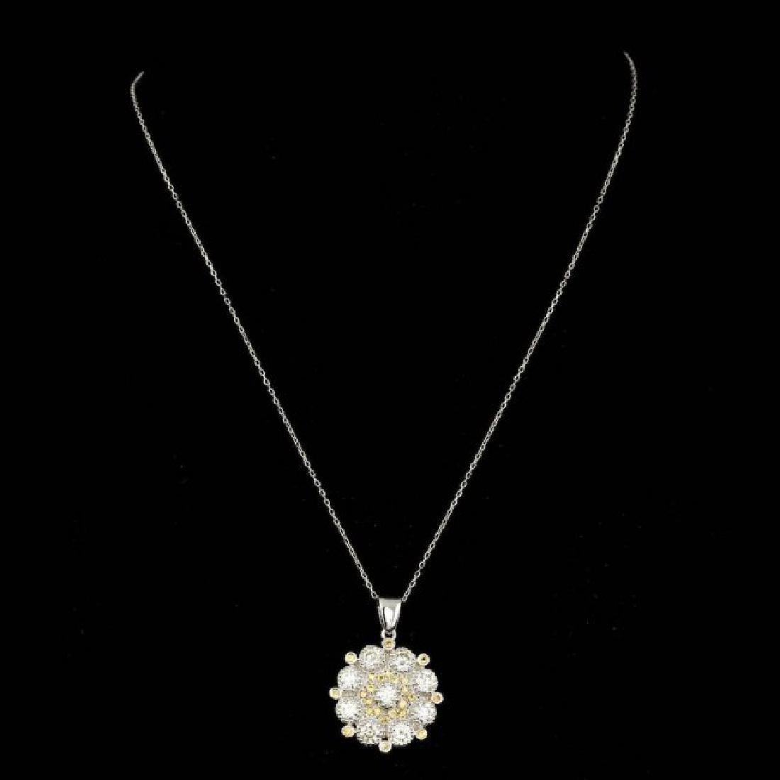 14k Gold 2.65ct Diamond 0.50ct Sapphire Pendant - 2