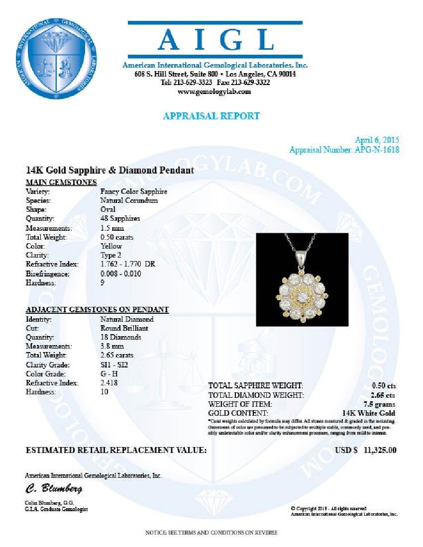 14k Gold 2.65ct Diamond 0.50ct Sapphire Pendant - 5