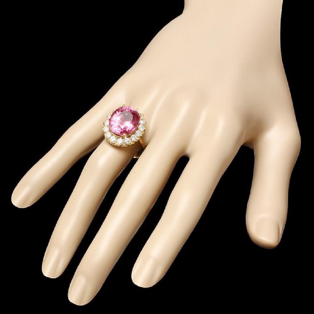 14k Gold 10.50ct Tourmaline 1.50ct Diamond Ring - 3