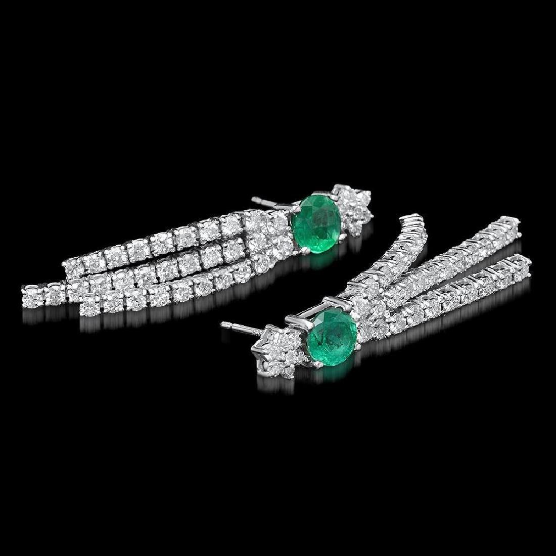 14k White Gold 1.70ct Emerald 2.62ct Diamond Earrings - 2