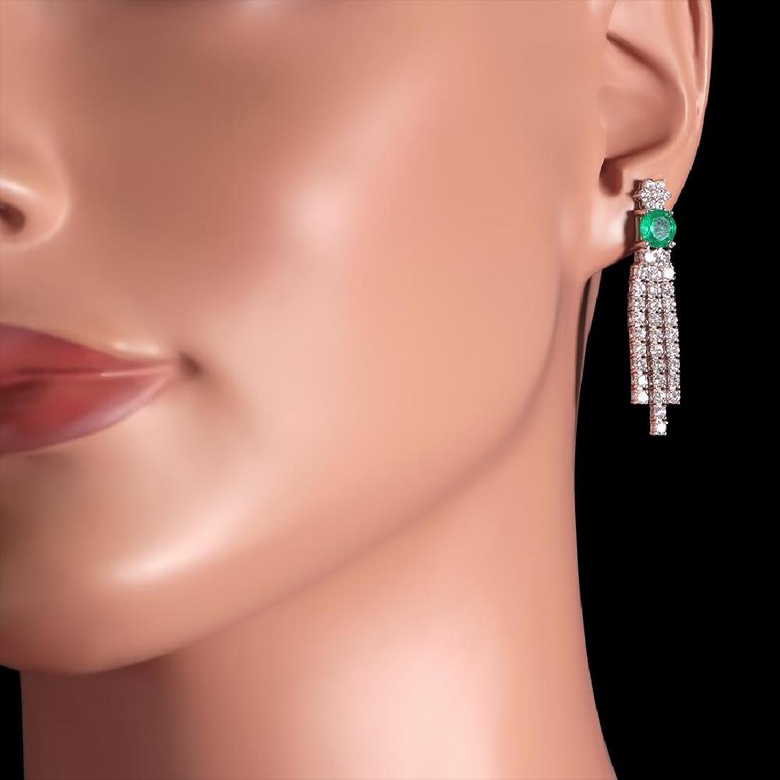 14k White Gold 1.70ct Emerald 2.62ct Diamond Earrings - 3