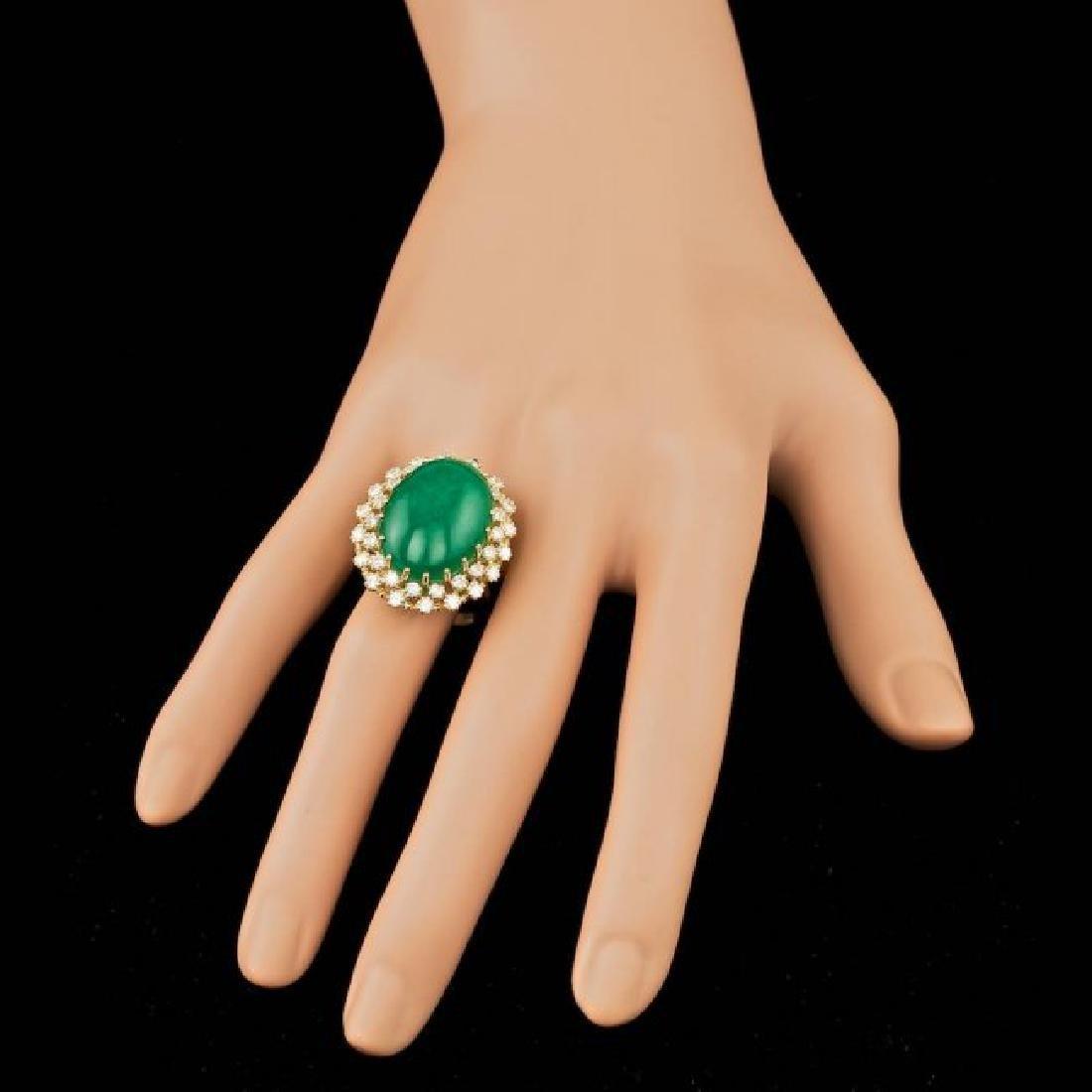 14k Yellow Gold 13.50ct Jade 1.30ct Diamond Ring - 3