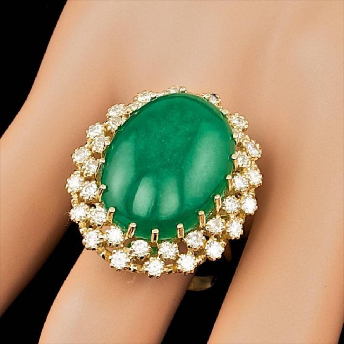 14k Yellow Gold 13.50ct Jade 1.30ct Diamond Ring - 4