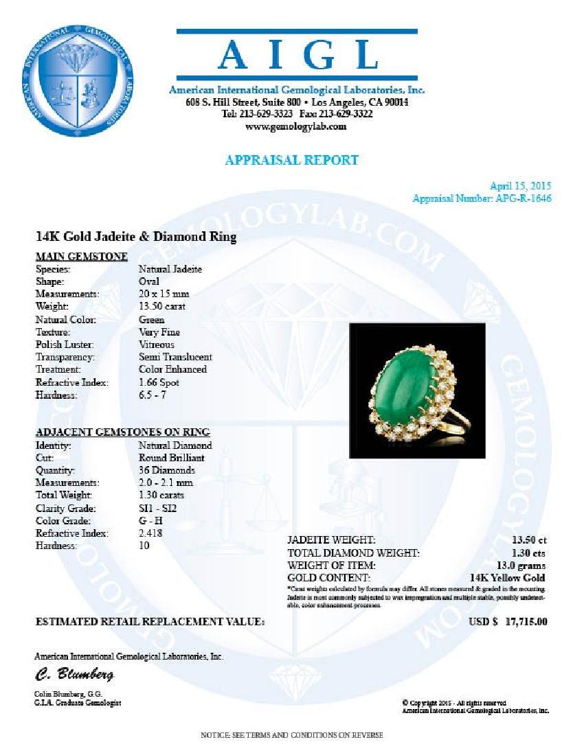 14k Yellow Gold 13.50ct Jade 1.30ct Diamond Ring - 5