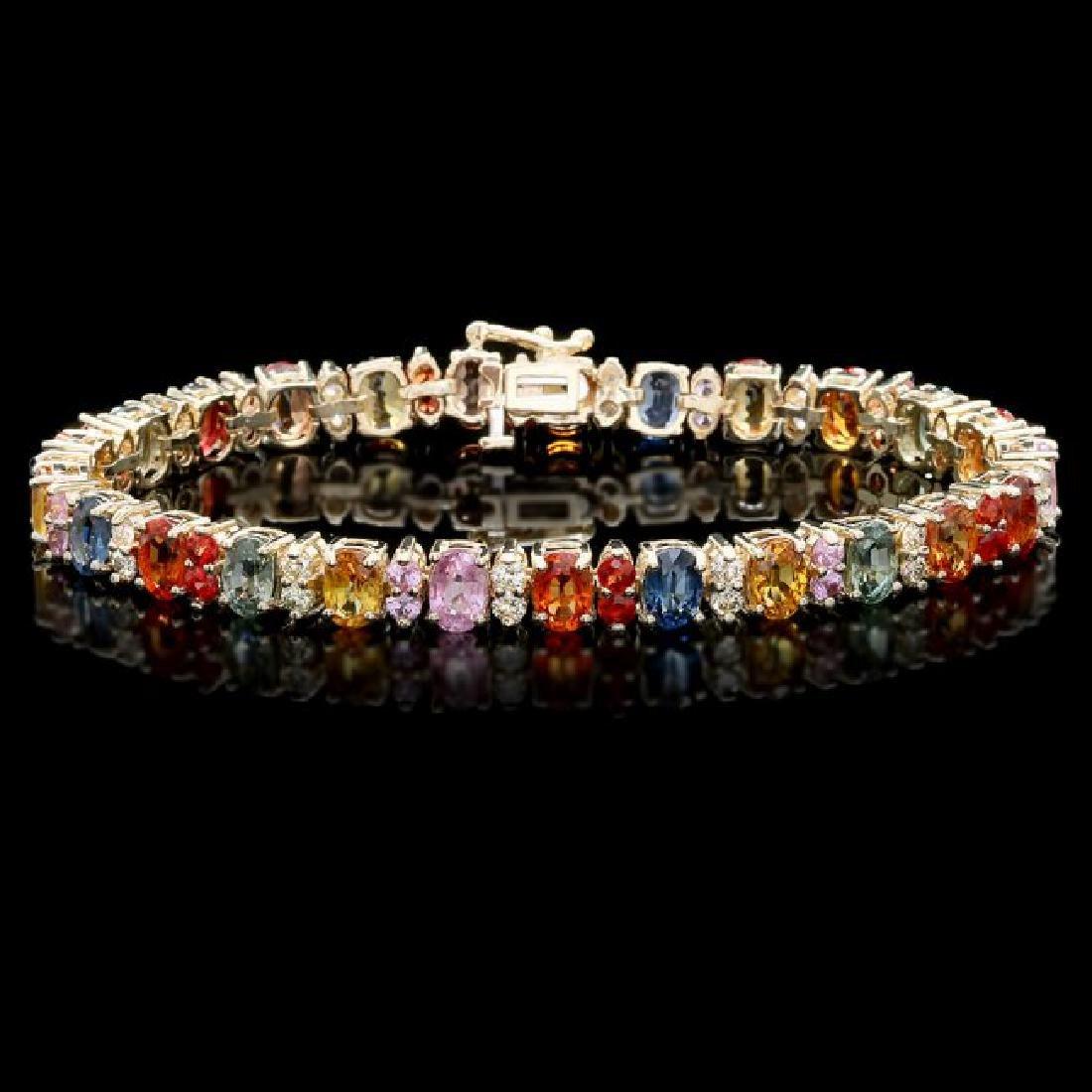 14k Gold 20ct Sapphire 1.35ct Diamond Bracelet