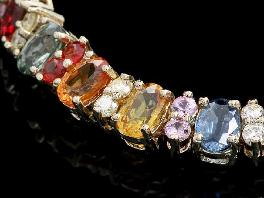 14k Gold 20ct Sapphire 1.35ct Diamond Bracelet - 2
