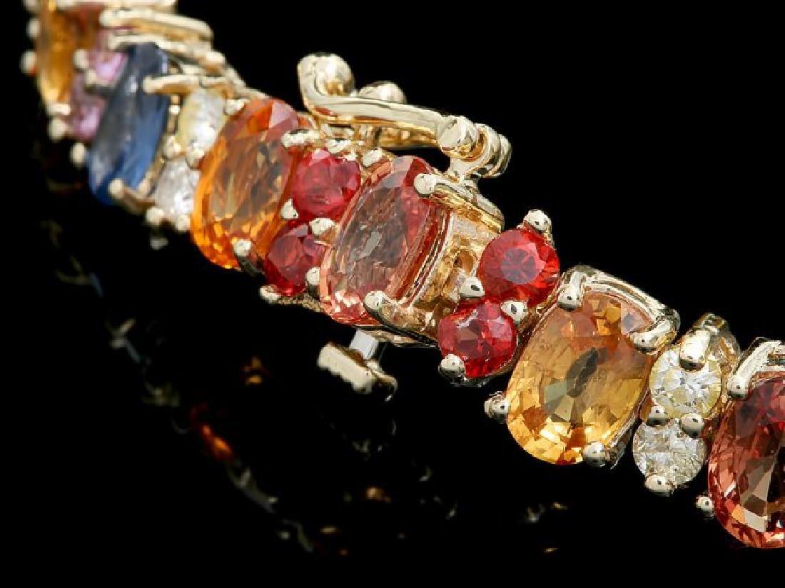14k Gold 20ct Sapphire 1.35ct Diamond Bracelet - 3