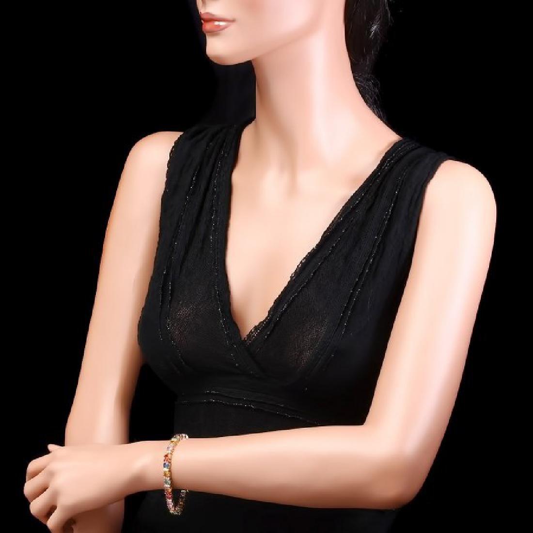 14k Gold 20ct Sapphire 1.35ct Diamond Bracelet - 5