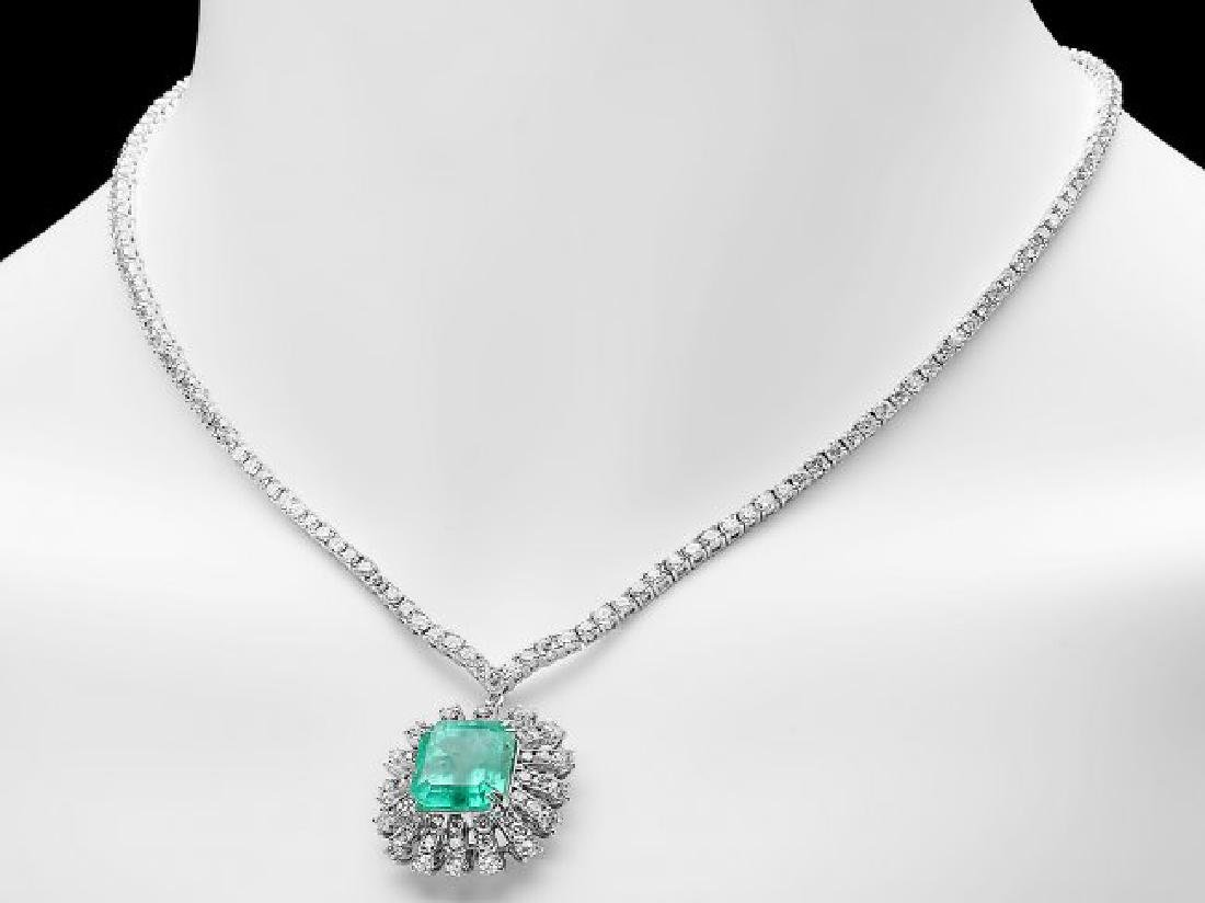 18k Gold 9.00ct Emerald 11ct Diamond Necklace - 6