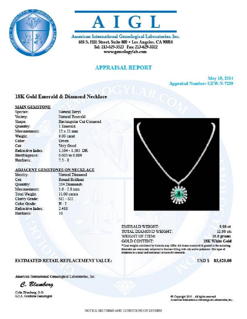 18k Gold 9.00ct Emerald 11ct Diamond Necklace - 7