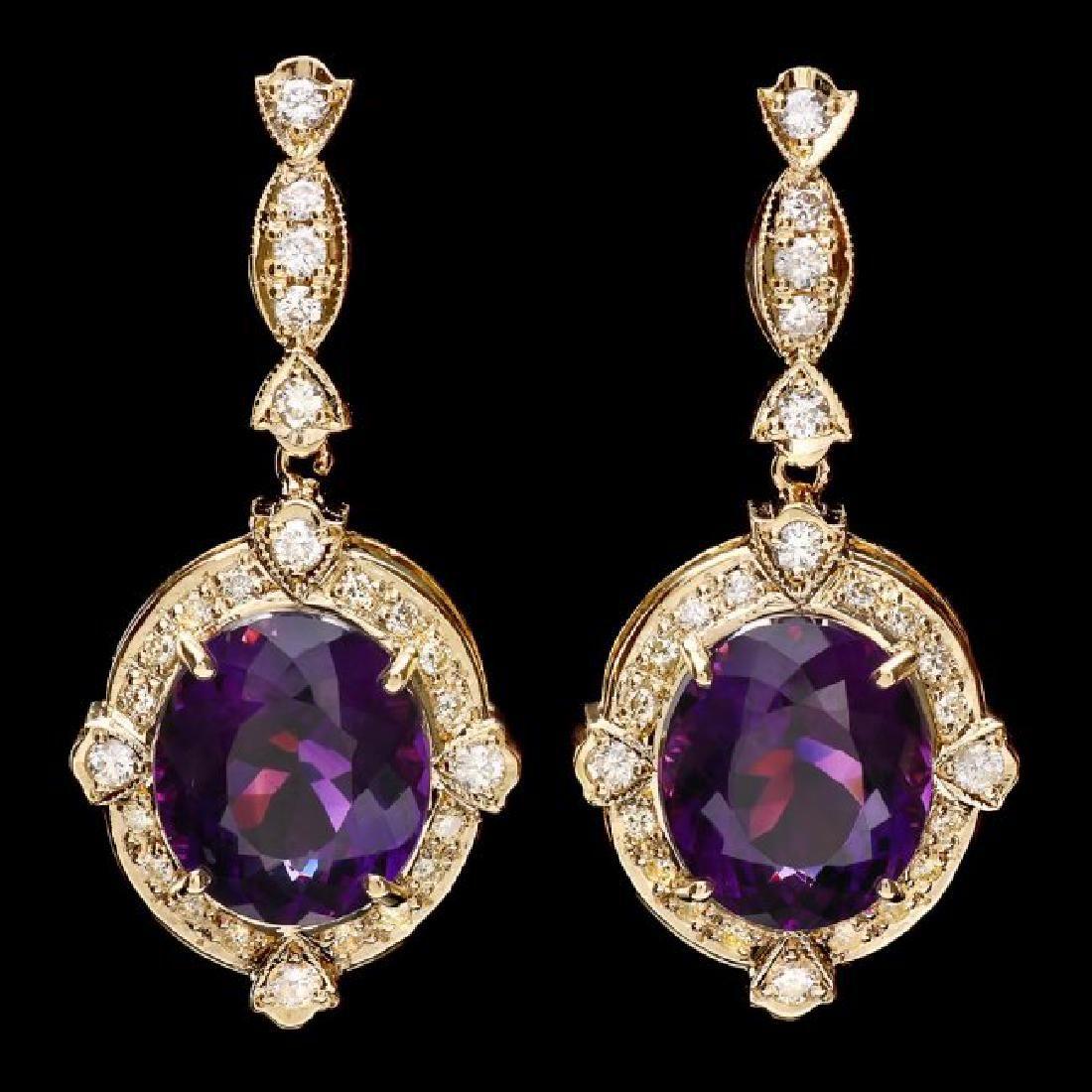 14k Gold 16ct Amethyst 1.45ct Diamond Earrings