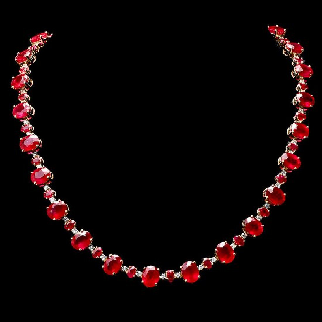 14k Yellow Gold 73ct Ruby 2.00ct Diamond Necklace