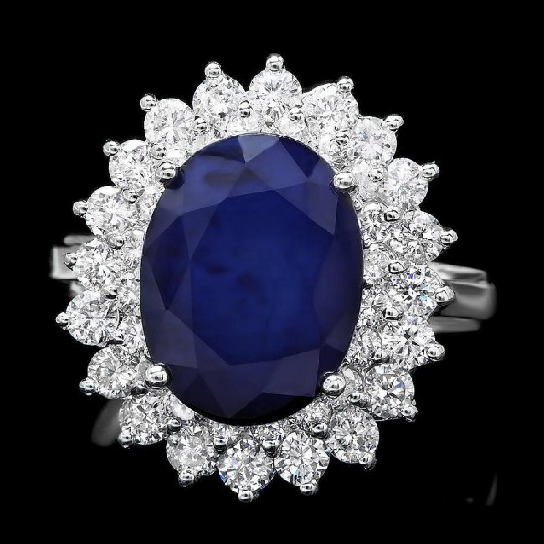 14k Gold 4.50ct Sapphire 1.45ct Diamond Ring