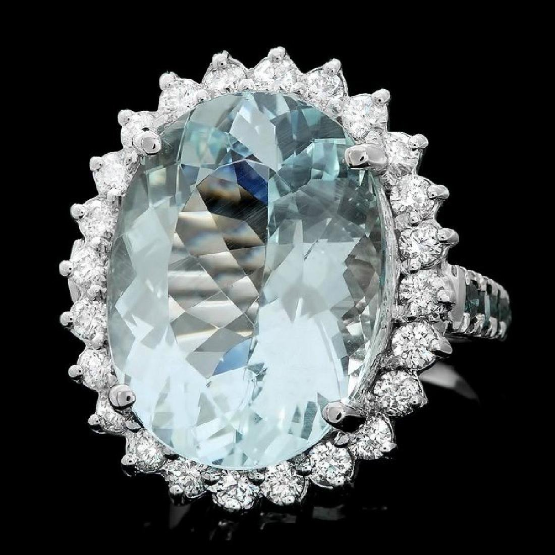 14k Gold 12.00ct Aquamarine 1.4ct Diamond Ring