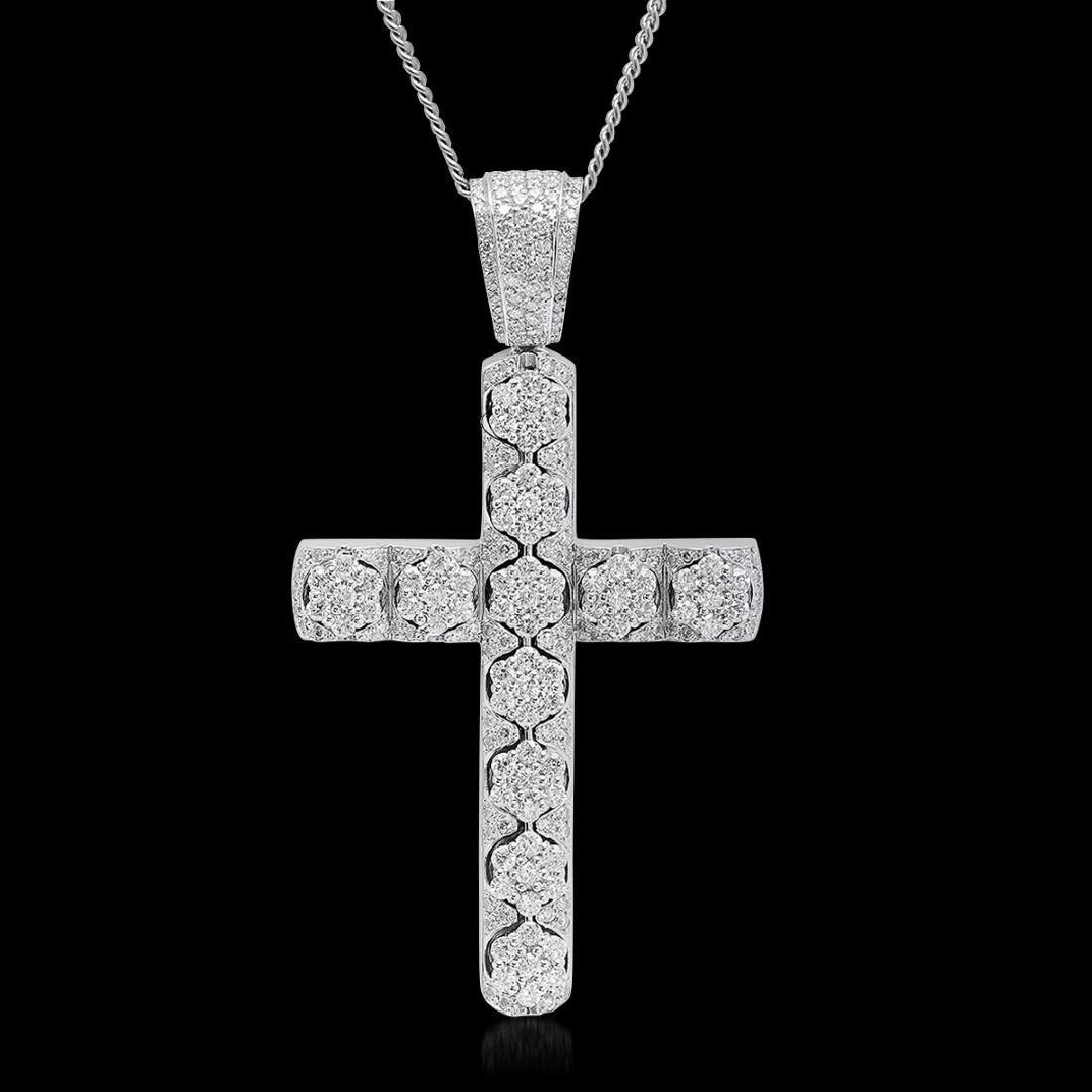 14K White Gold 11.00cts. Diamond Pendant
