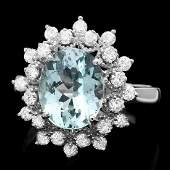 14k Gold 250ct Aquamarine 060ct Diamond Ring