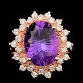 14k Rose Gold 450ct Amethyst 080ct Diamond Ring