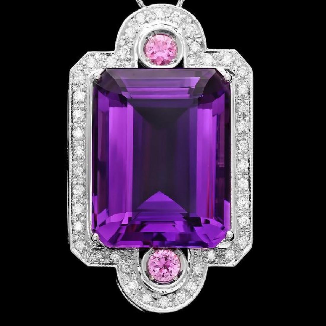14k Gold 43ct Amethyst 0.85ct Diamond Pendant