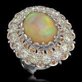 14K Gold 712ct Opal 048ct Sapphire 220ct Diamond