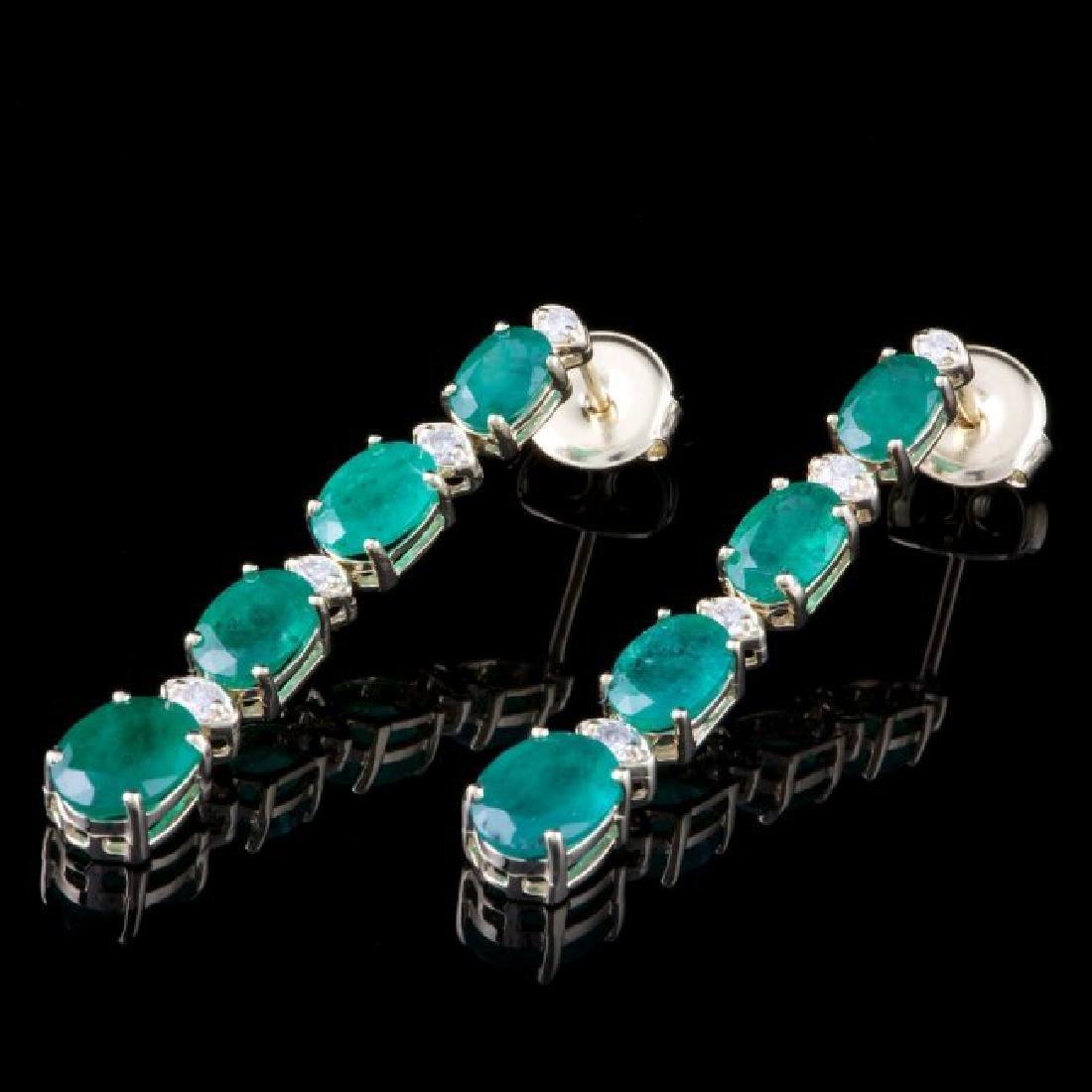 14k Gold 6.00ct Emerald 0.40ct Diamond Earrings