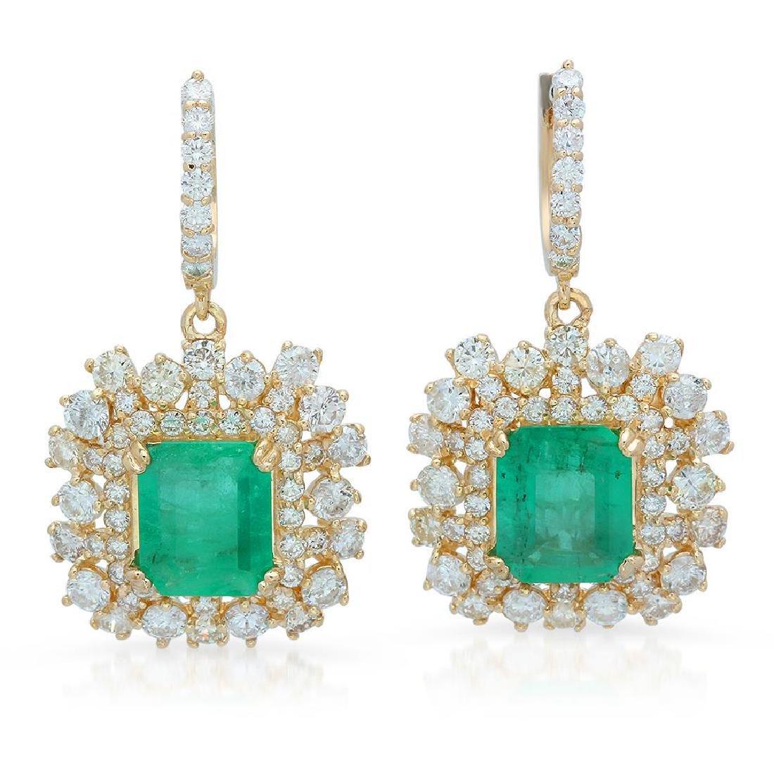 14K Gold 6.28ct Emerald 5.84ct Diamond Earrings