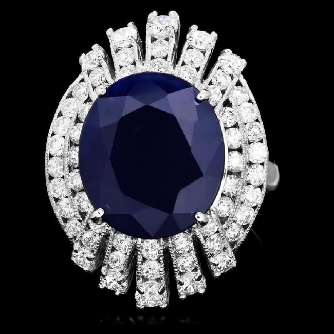 14k Gold 11.00ct Sapphire 2.00ct Diamond Ring