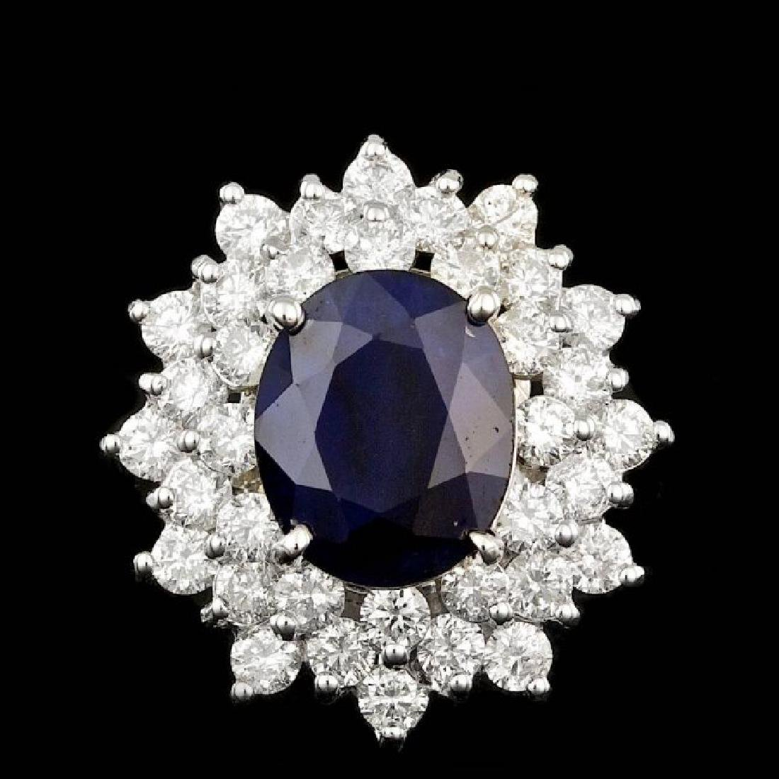 14k Gold 4.00ct Sapphire 2.00ct Diamond Ring