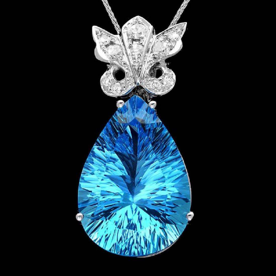 14k Gold 25.00ct Topaz 0.45ct Diamond Pendant