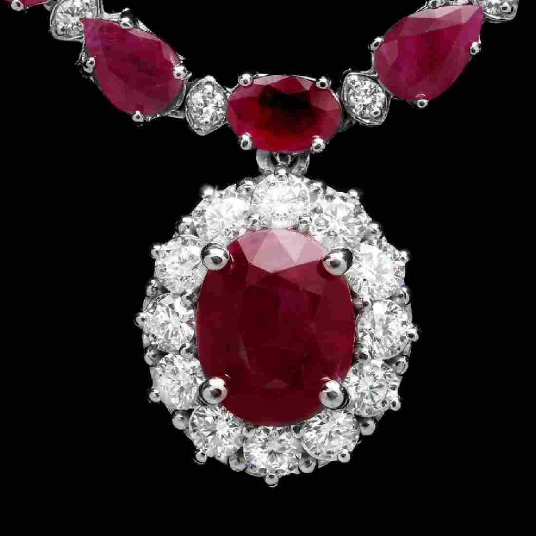 14k White Gold 32ct Ruby 2.50ct Diamond Necklace