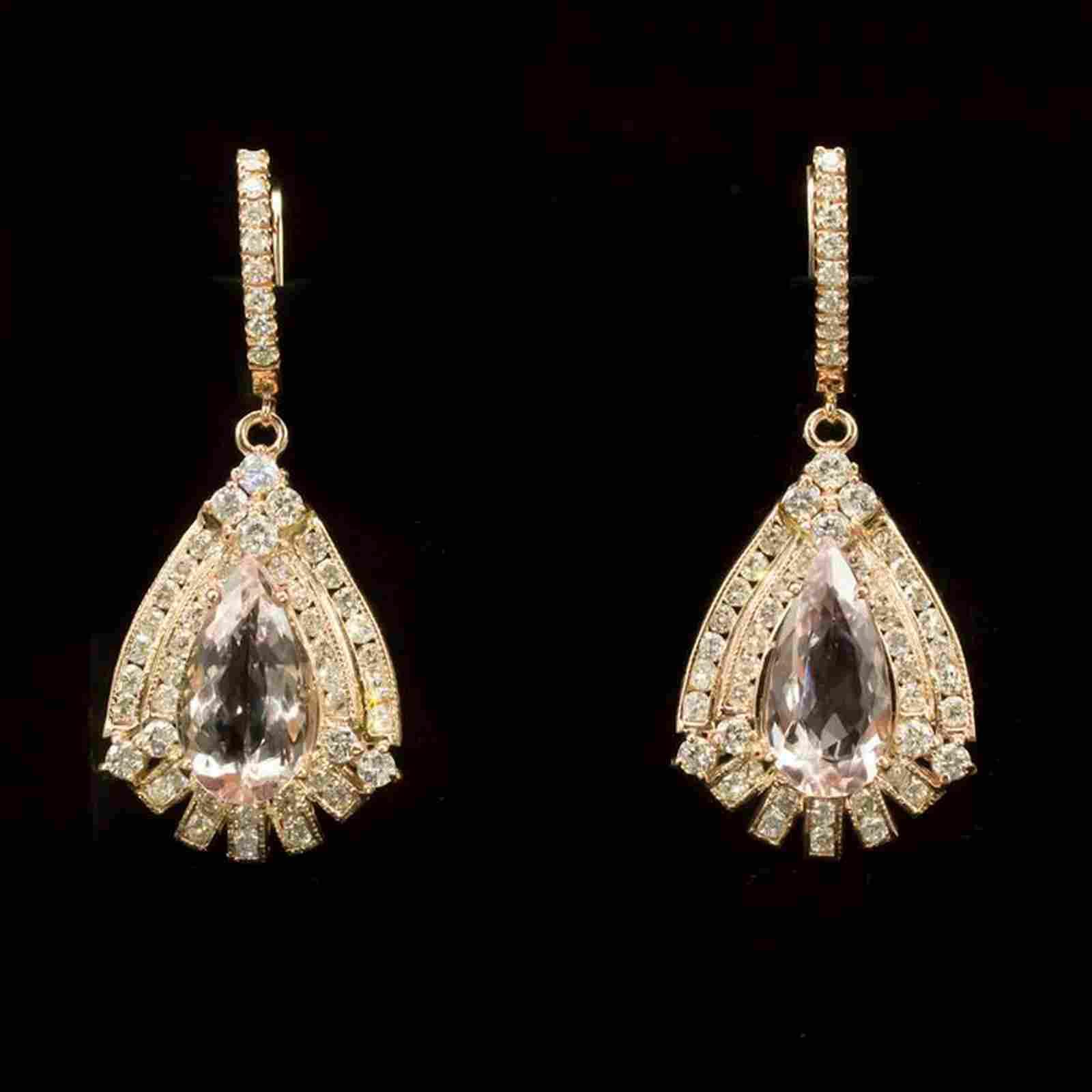 14K Gold 13.6ct Morganite 6.73ct Diamond Earrings