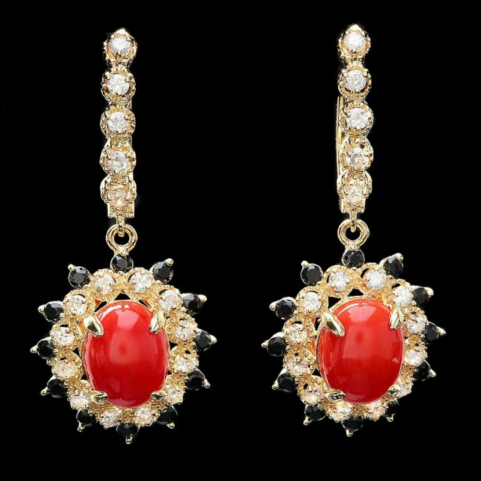 14k Gold 5.00ct Coral 1.10ct Diamond Earrings