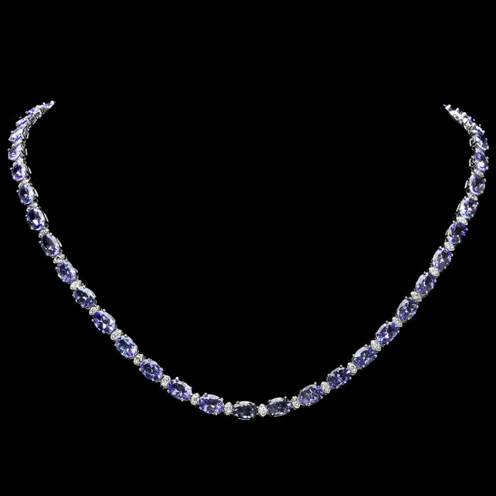 14k 35.50ct Tanzanite 1.75ct Diamond Necklace