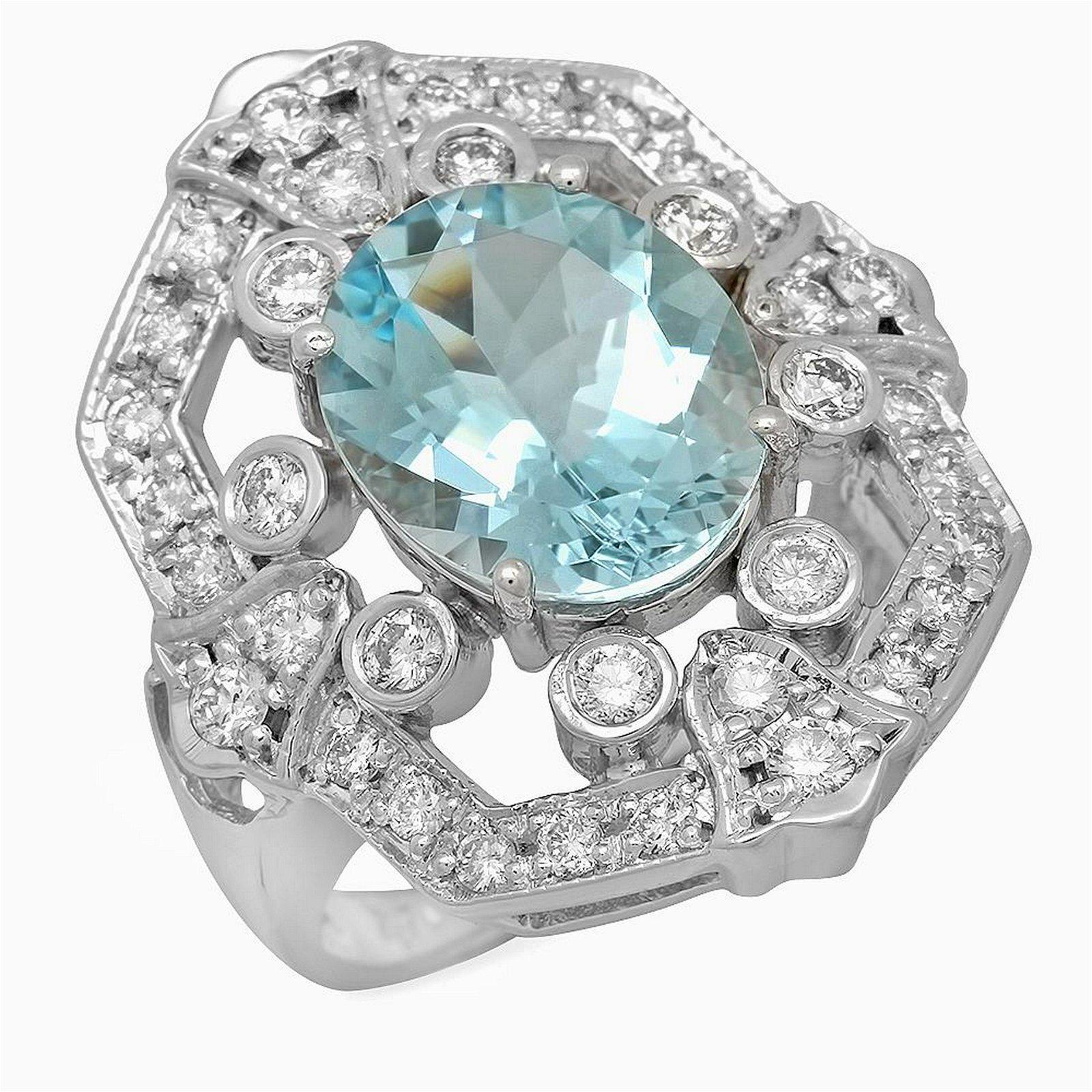 14K Gold 3.81ct Aquamarine 0.99ct Diamond Ring