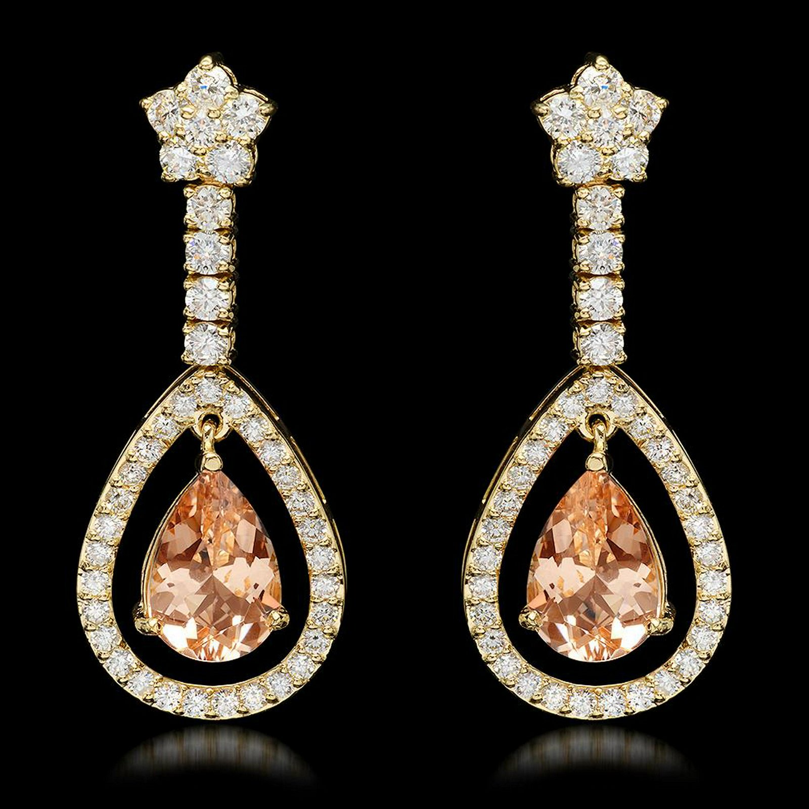 14k Yellow Gold 5.10ct Morganite 2.75ct Diamond