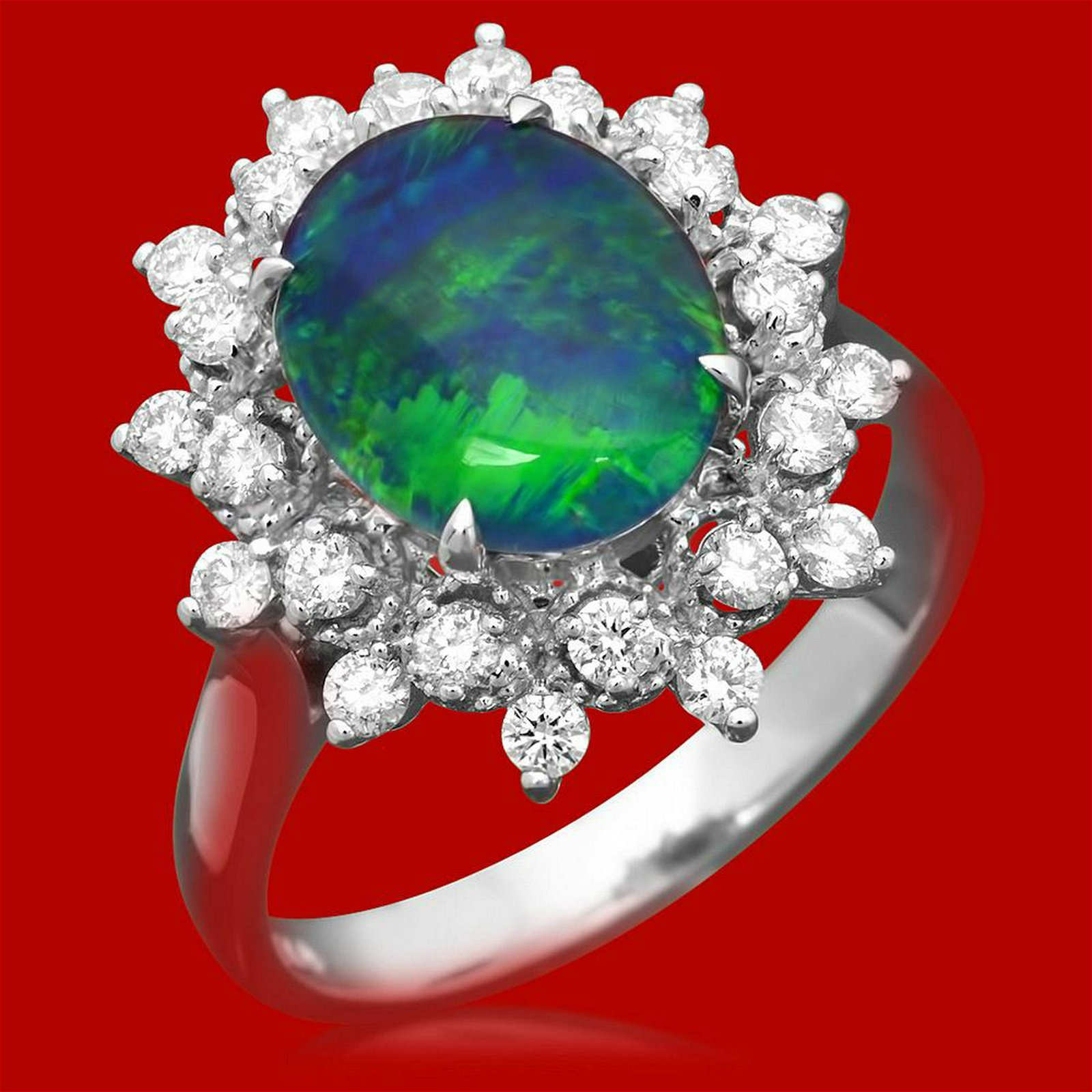 14k Gold 1.81ct Opal 0.65ct Diamond Ring