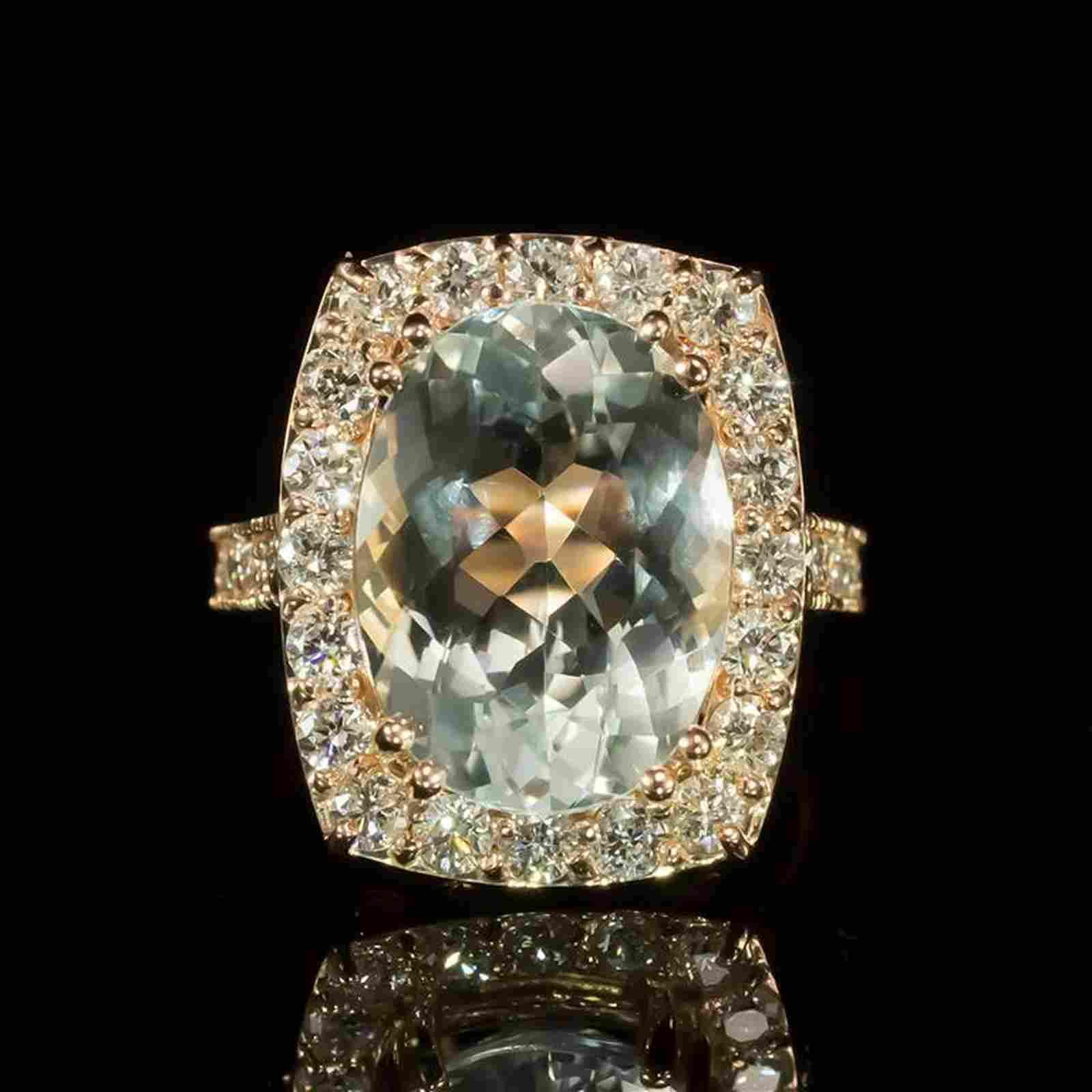 14K Gold 6.50ct Aquamarine 1.41ct Diamond Ring