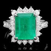 14k White Gold 400ct Emerald 100ct Diamond Ring