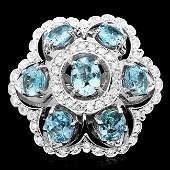 14k Gold 800ct Aquamarine 135ct Diamond Ring